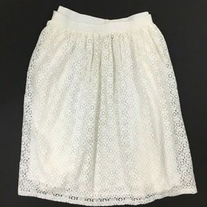 Chaps Lace Overlay Pull-On Skirt Off White XL